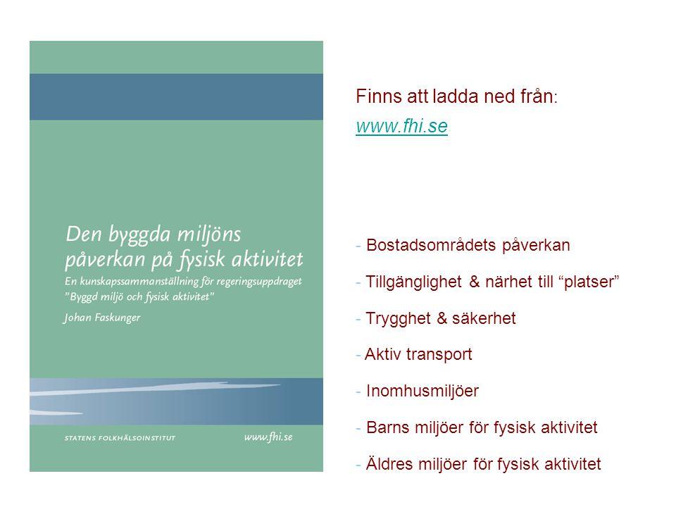 """Finns att ladda ned från : www.fhi.se www.fhi.se - Bostadsområdets påverkan - Tillgänglighet & närhet till """"platser"""" - Trygghet & säkerhet - Aktiv tra"""