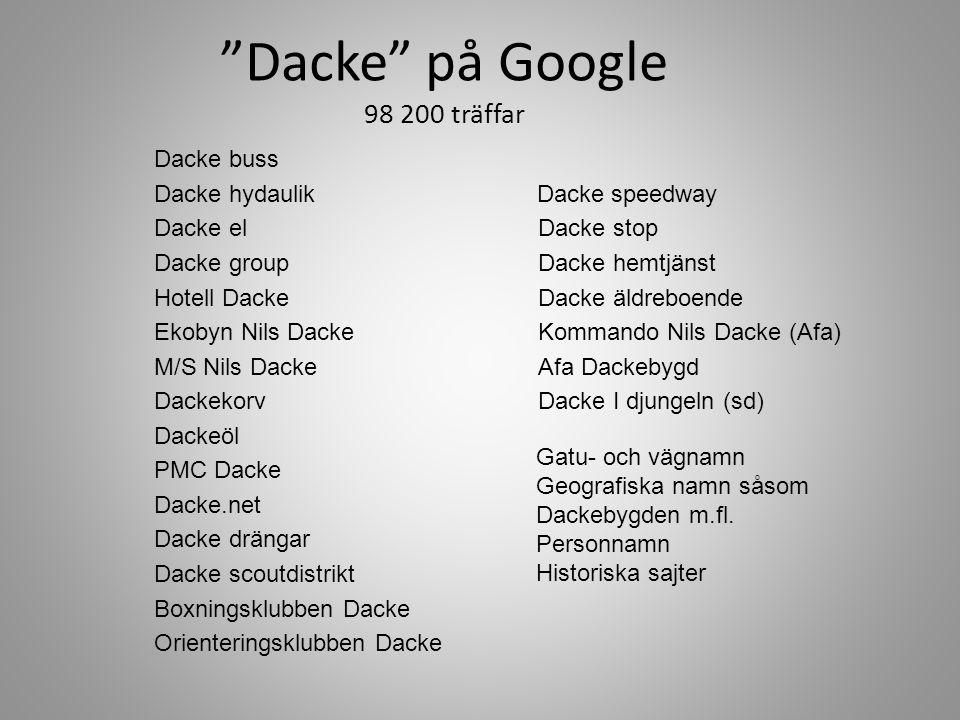 """Dacke"" på Google 98 200 träffar Dacke buss Dacke hydaulik Dacke speedway Dacke elDacke stop Dacke group Dacke hemtjänst Hotell DackeDacke äldreboende"