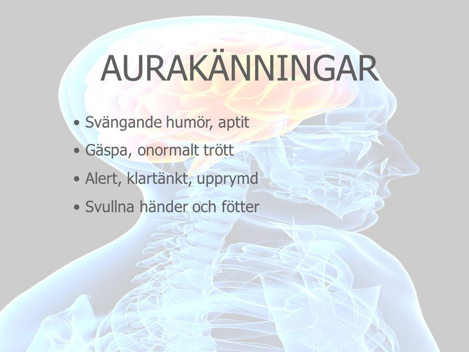 DIAGNOS • Återkommande attacker, 4h - 3 dygn • Följande egenskaper, ensidig, pulserar, medelsvår – svår • Drabbas av minst ett symtom, kräkning, illamående, ljuskänslig • Svår intensiv huvudvärk • Förvärras av rörelse • Ena sidan av ögat, sidan av huvudet • Kan vara dubbelsidig