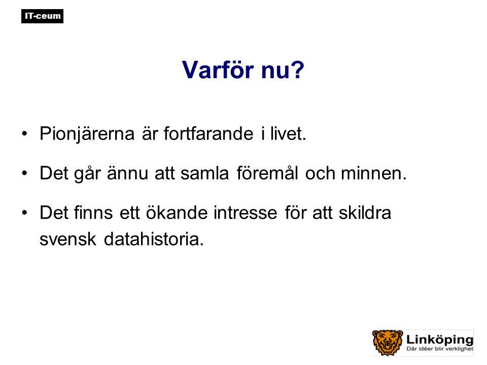 IT-ceum Historik – so far… 200220032004 Förarbete Beslut WW-fonden Projektorg.