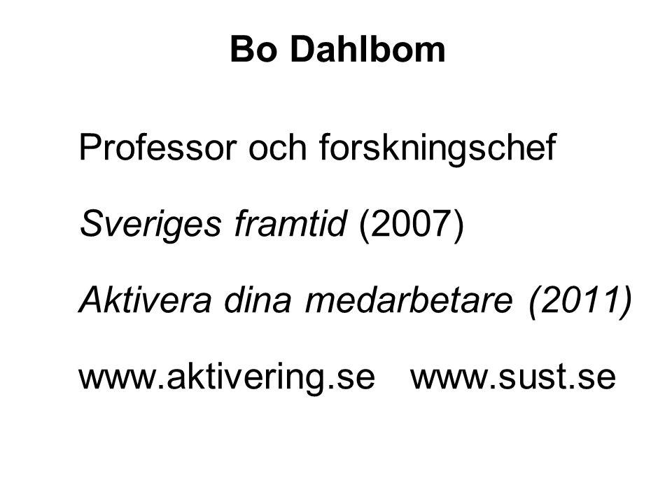 Professor och forskningschef Sveriges framtid (2007) Aktivera dina medarbetare (2011) www.aktivering.se www.sust.se Bo Dahlbom