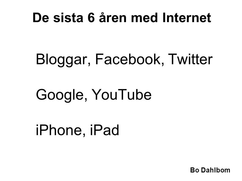 Bloggar, Facebook, Twitter Google, YouTube iPhone, iPad De sista 6 åren med Internet