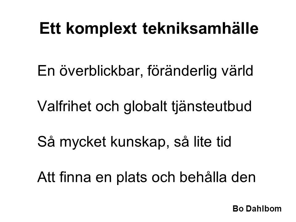 Bo Dahlbom En överblickbar, föränderlig värld Valfrihet och globalt tjänsteutbud Så mycket kunskap, så lite tid Att finna en plats och behålla den Ett komplext tekniksamhälle