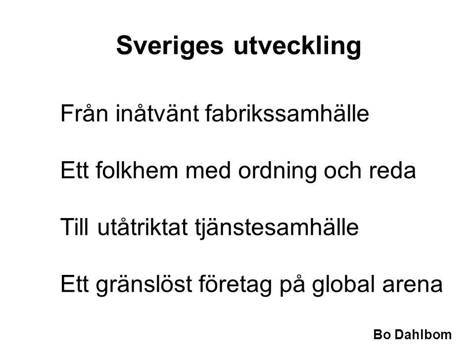 Bo Dahlbom Sveriges utveckling Från inåtvänt fabrikssamhälle Ett folkhem med ordning och reda Till utåtriktat tjänstesamhälle Ett gränslöst företag på global arena