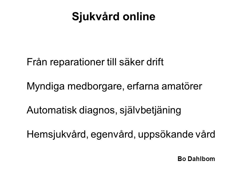 Bo Dahlbom Sjukvård online Från reparationer till säker drift Myndiga medborgare, erfarna amatörer Automatisk diagnos, självbetjäning Hemsjukvård, egenvård, uppsökande vård
