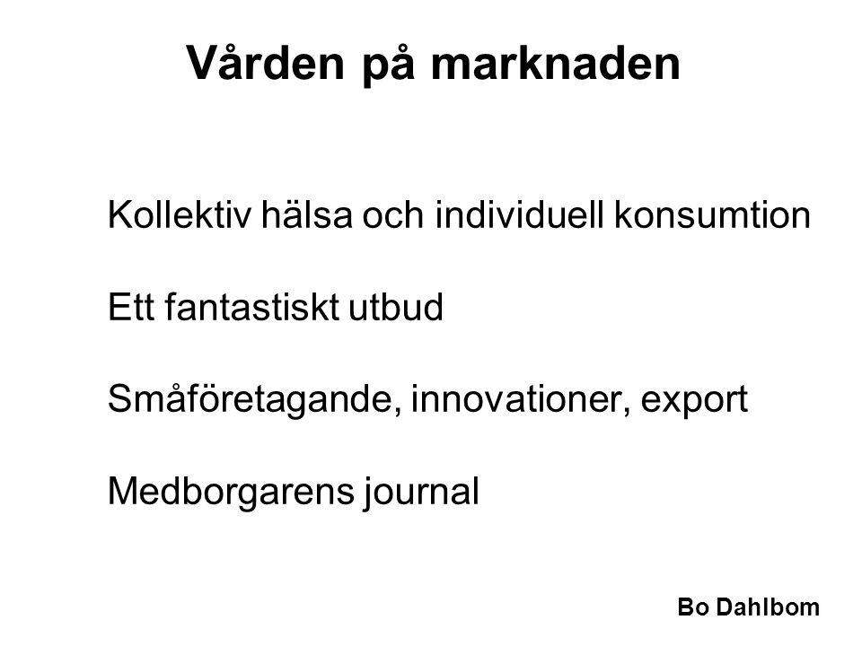 Bo Dahlbom Vården på marknaden Kollektiv hälsa och individuell konsumtion Ett fantastiskt utbud Småföretagande, innovationer, export Medborgarens journal