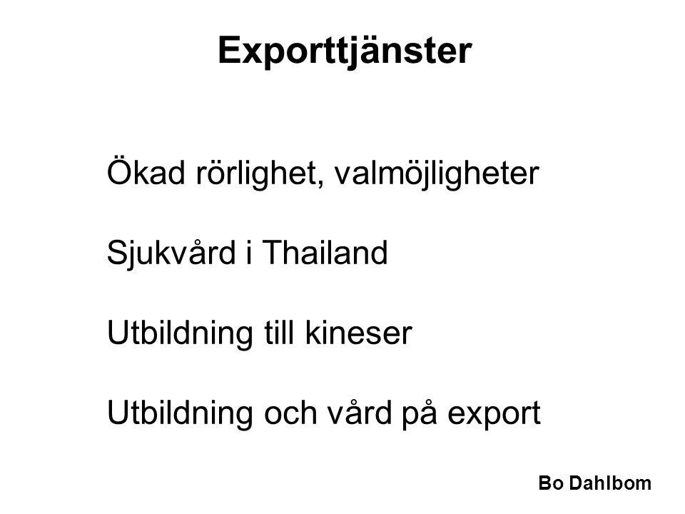 Bo Dahlbom •Ökad rörlighet, valmöjligheter •Sjukvård i Thailand •Utbildning till kineser •Utbildning och vård på export Exporttjänster