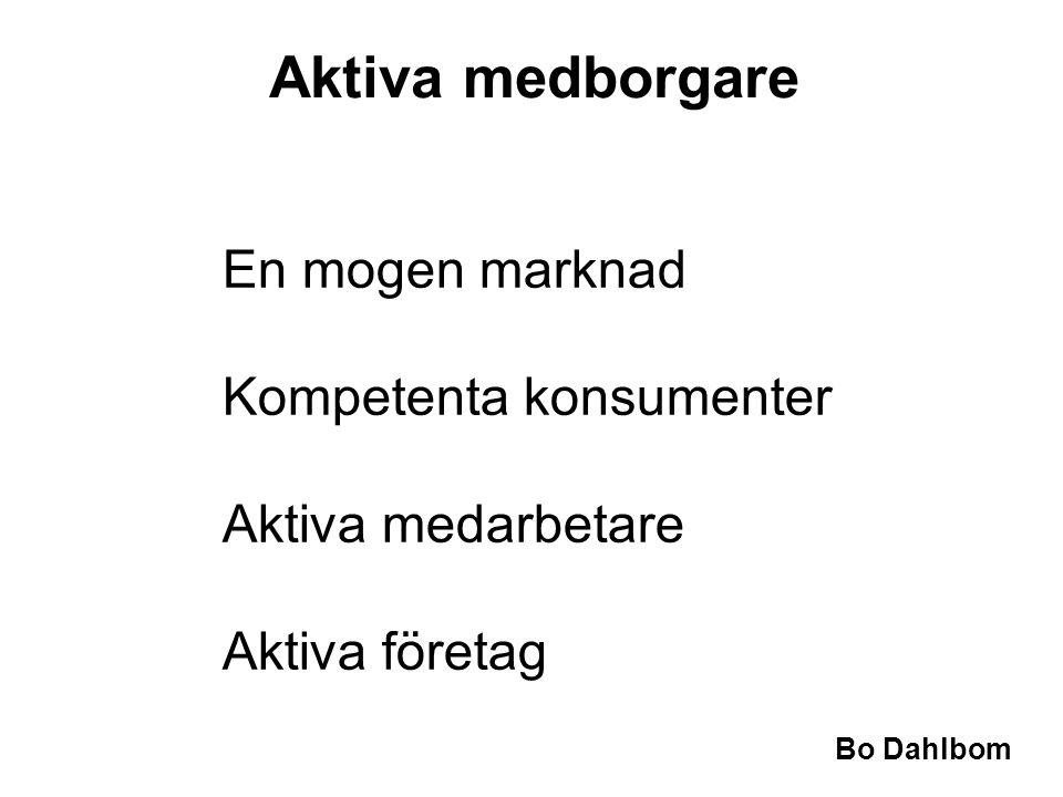 Bo Dahlbom •En mogen marknad •Kompetenta konsumenter •Aktiva medarbetare •Aktiva företag Aktiva medborgare