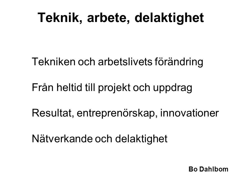 Bo Dahlbom Tekniken och arbetslivets förändring Från heltid till projekt och uppdrag Resultat, entreprenörskap, innovationer Nätverkande och delaktighet Teknik, arbete, delaktighet