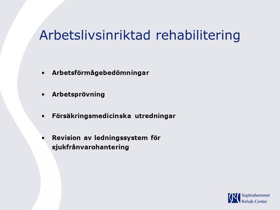 Arbetslivsinriktad rehabilitering •Arbetsförmågebedömningar •Arbetsprövning •Försäkringsmedicinska utredningar •Revision av ledningssystem för sjukfrånvarohantering