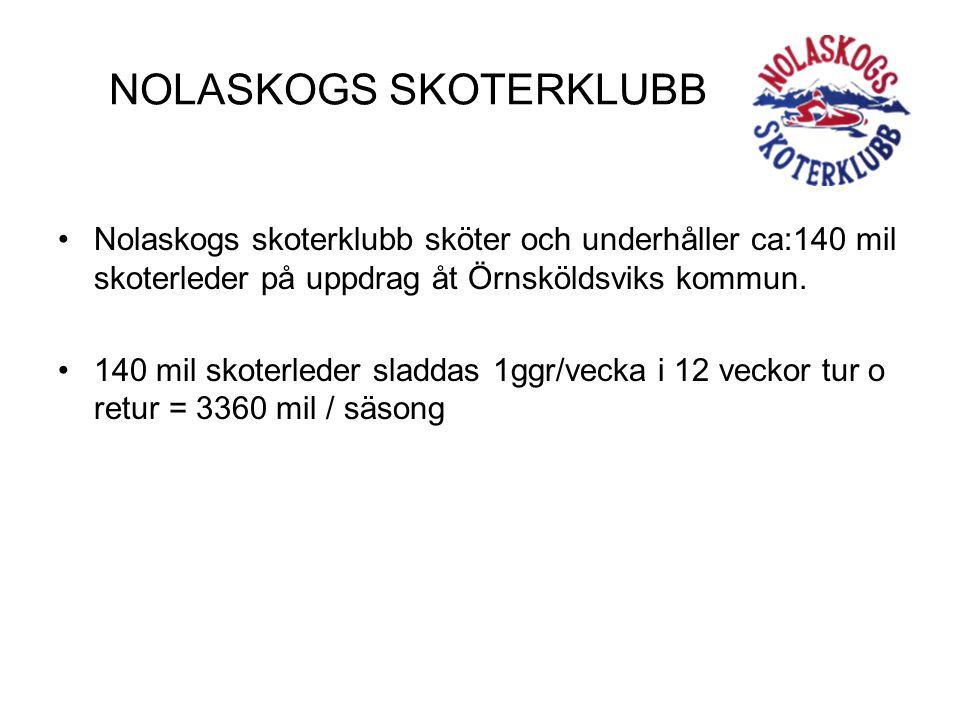 NOLASKOGS SKOTERKLUBB •Nolaskogs skoterklubb sköter och underhåller ca:140 mil skoterleder på uppdrag åt Örnsköldsviks kommun. •140 mil skoterleder sl