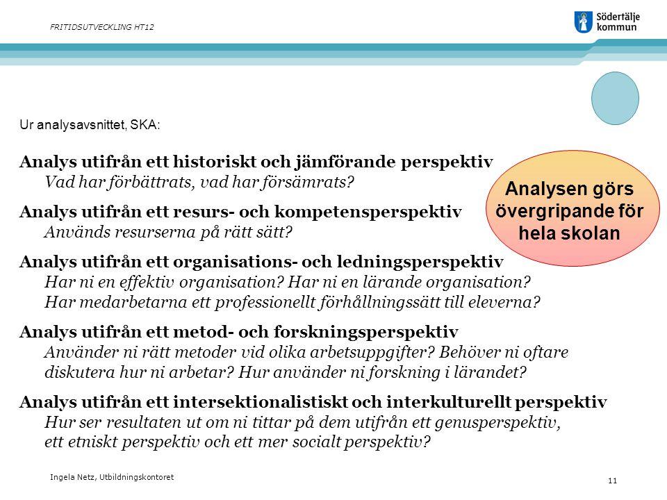 Ingela Netz, Utbildningskontoret 11 FRITIDSUTVECKLING HT12 Analys utifrån ett historiskt och jämförande perspektiv Vad har förbättrats, vad har försäm