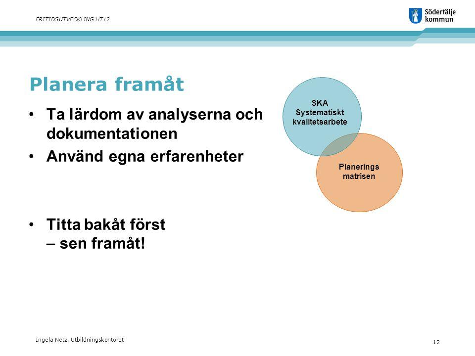 Ingela Netz, Utbildningskontoret 12 FRITIDSUTVECKLING HT12 Planera framåt •Ta lärdom av analyserna och dokumentationen •Använd egna erfarenheter •Titt