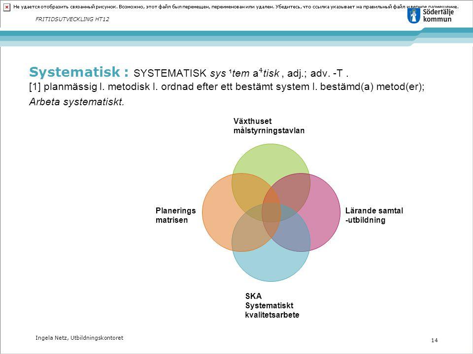 Ingela Netz, Utbildningskontoret 14 FRITIDSUTVECKLING HT12 Systematisk : SYSTEMATISK sys ¹tem a ⁴ tisk, adj.; adv. -T. [1] planmässig l. metodisk l. o