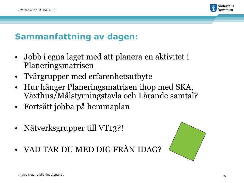 Ingela Netz, Utbildningskontoret 15 FRITIDSUTVECKLING HT12 Sammanfattning av dagen: •Jobb i egna laget med att planera en aktivitet i Planeringsmatris
