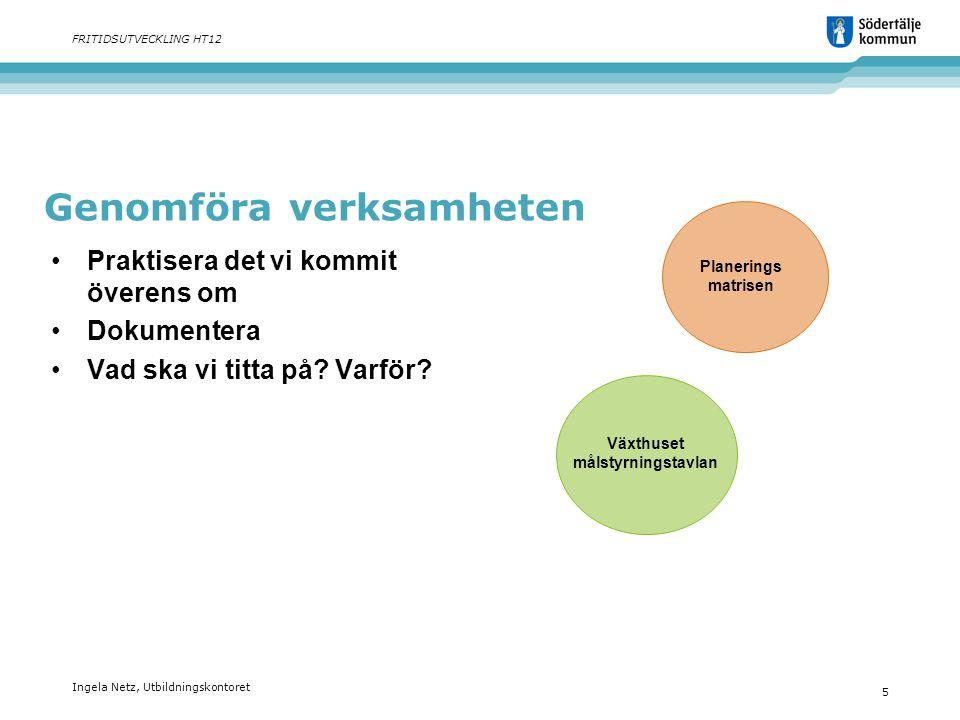 Ingela Netz, Utbildningskontoret 5 FRITIDSUTVECKLING HT12 Genomföra verksamheten •Praktisera det vi kommit överens om •Dokumentera •Vad ska vi titta p