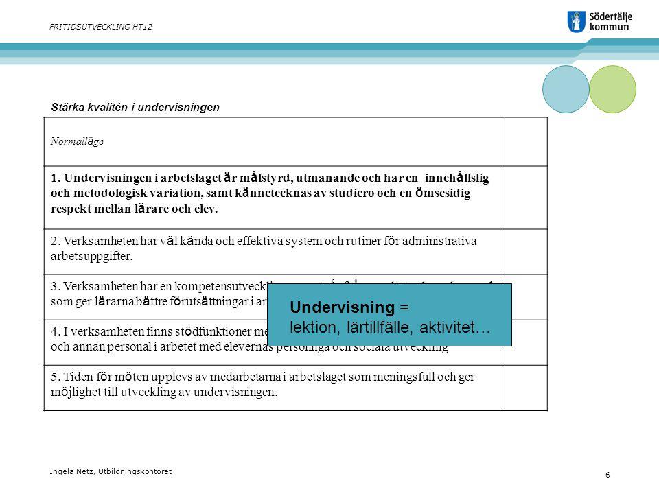 Ingela Netz, Utbildningskontoret 6 FRITIDSUTVECKLING HT12 Stärka kvalitén i undervisningen Normall ä ge 1. Undervisningen i arbetslaget ä r m å lstyrd