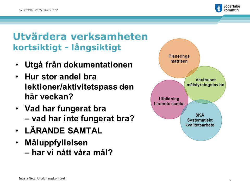 Ingela Netz, Utbildningskontoret 7 FRITIDSUTVECKLING HT12 Utvärdera verksamheten kortsiktigt - långsiktigt •Utgå från dokumentationen •Hur stor andel