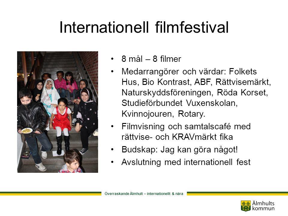 Överraskande Älmhult – internationellt & nära Internationell filmfestival •8 mål – 8 filmer •Medarrangörer och värdar: Folkets Hus, Bio Kontrast, ABF, Rättvisemärkt, Naturskyddsföreningen, Röda Korset, Studieförbundet Vuxenskolan, Kvinnojouren, Rotary.