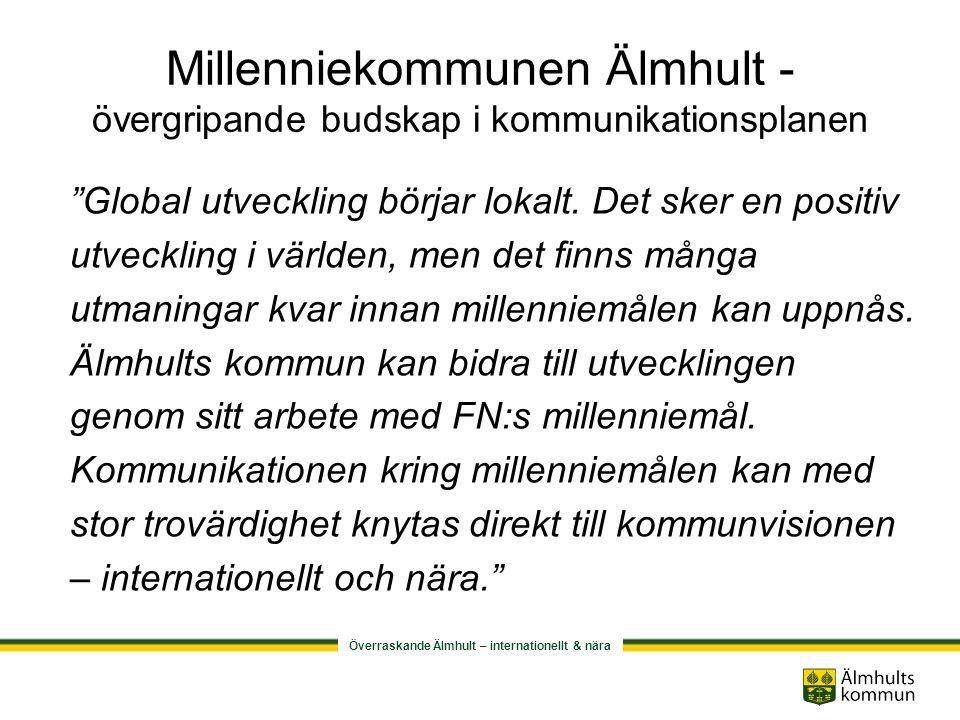 Överraskande Älmhult – internationellt & nära Millenniekommunen Älmhult - övergripande budskap i kommunikationsplanen Global utveckling börjar lokalt.