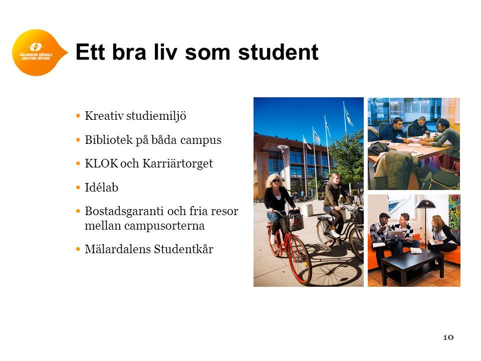 Ett bra liv som student • Kreativ studiemiljö • Bibliotek på båda campus • KLOK och Karriärtorget • Idélab • Bostadsgaranti och fria resor mellan camp