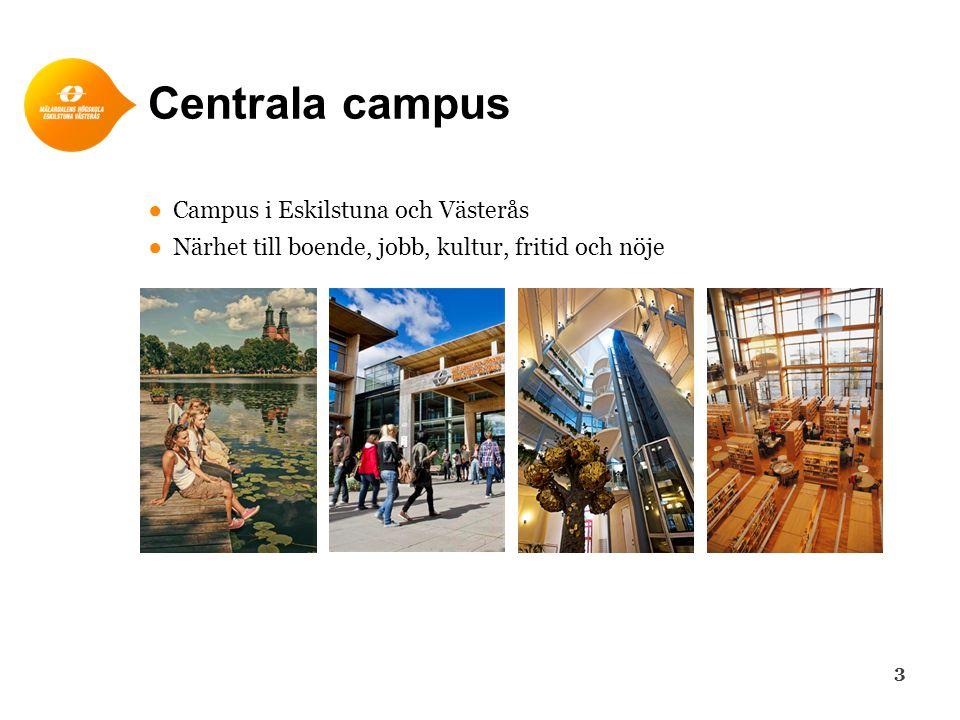 Centrala campus ● Campus i Eskilstuna och Västerås ● Närhet till boende, jobb, kultur, fritid och nöje 3