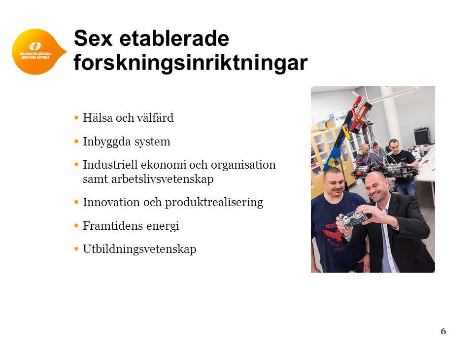 Sex etablerade forskningsinriktningar 6 • Hälsa och välfärd • Inbyggda system • Industriell ekonomi och organisation samt arbetslivsvetenskap • Innova