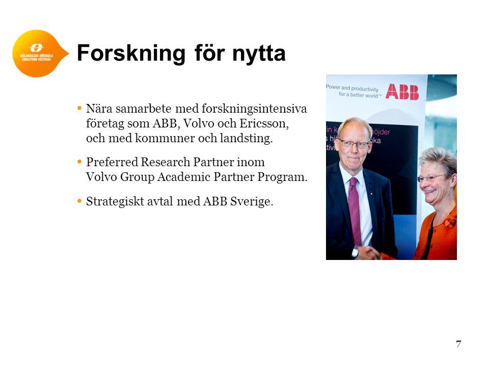 Forskning för nytta • Nära samarbete med forskningsintensiva företag som ABB, Volvo och Ericsson, och med kommuner och landsting. • Preferred Research