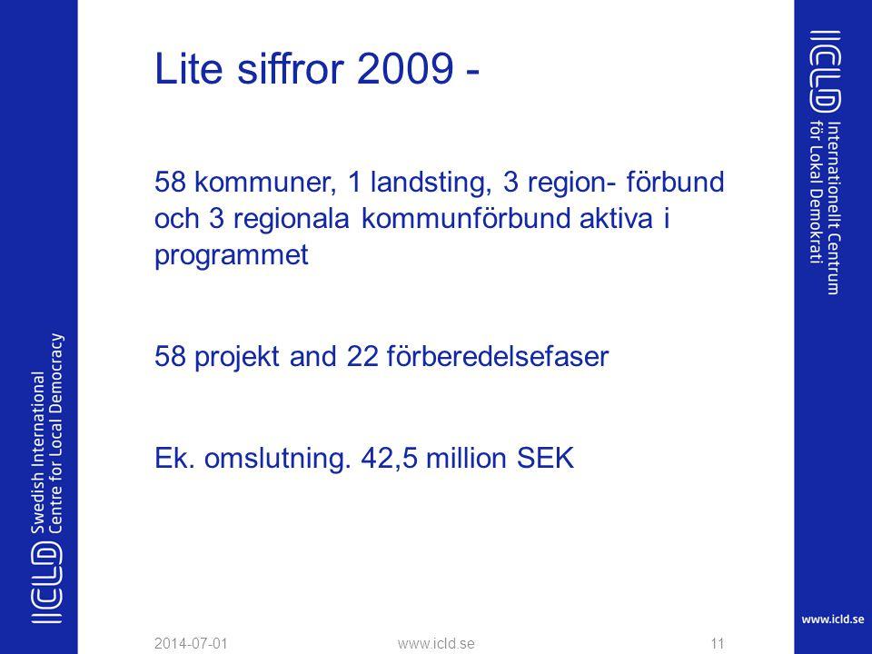 Lite siffror 2009 - 58 kommuner, 1 landsting, 3 region- förbund och 3 regionala kommunförbund aktiva i programmet 58 projekt and 22 förberedelsefaser