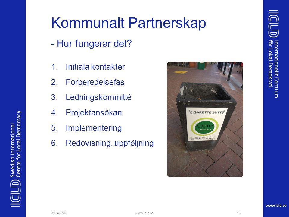 Kommunalt Partnerskap 1.Initiala kontakter 2.Förberedelsefas 3.Ledningskommitté 4.Projektansökan 5.Implementering 6.Redovisning, uppföljning - Hur fun