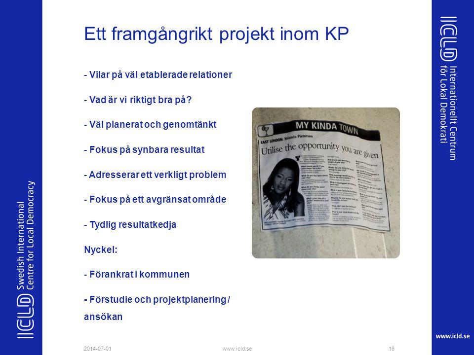 Ett framgångrikt projekt inom KP - Vilar på väl etablerade relationer - Vad är vi riktigt bra på? - Väl planerat och genomtänkt - Fokus på synbara res