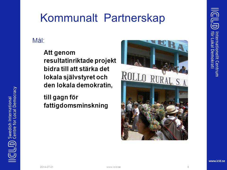 Kommunalt Partnerskap Mål: Att genom resultatinriktade projekt bidra till att stärka det lokala självstyret och den lokala demokratin, till gagn för f