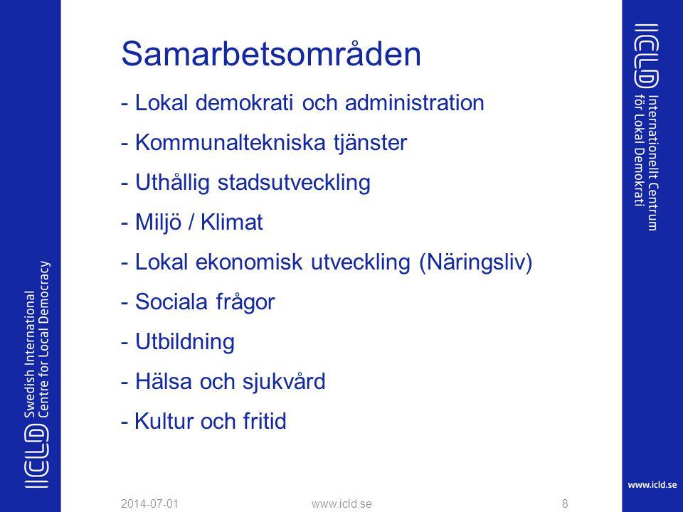 Samarbetsområden - Lokal demokrati och administration - Kommunaltekniska tjänster - Uthållig stadsutveckling - Miljö / Klimat - Lokal ekonomisk utveck