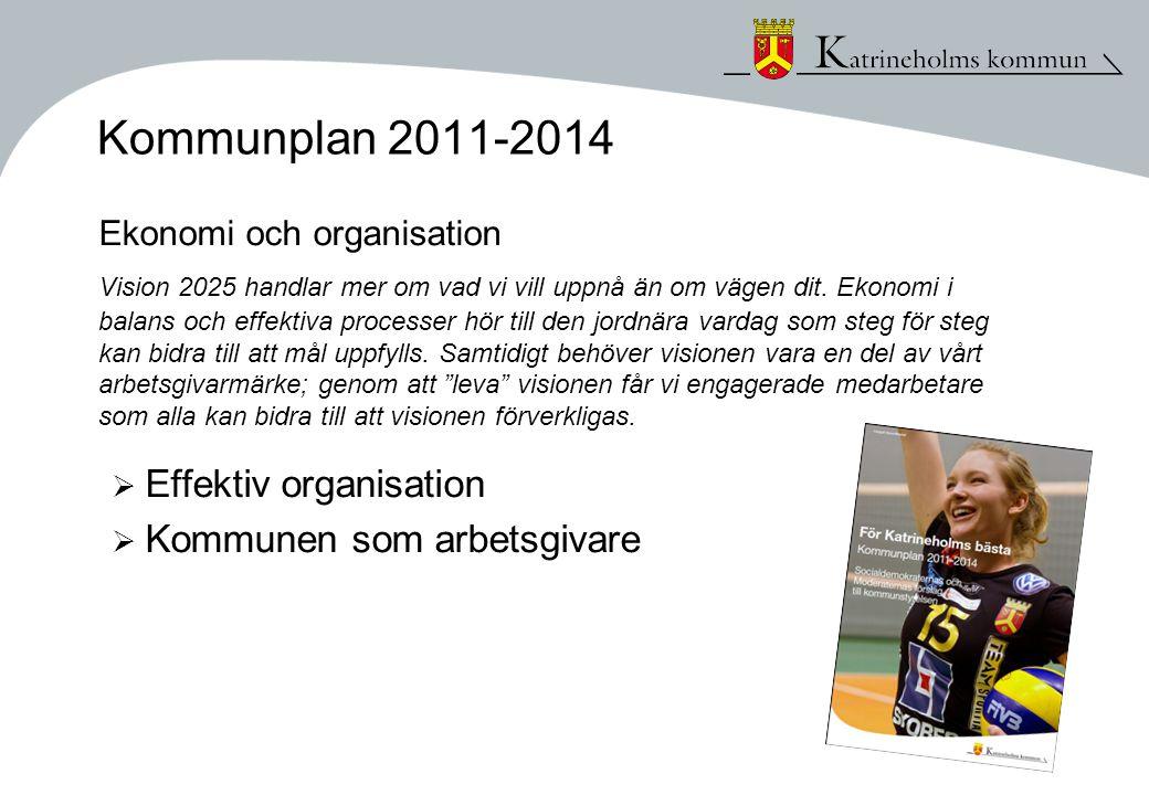 Kommunplan 2011-2014 Ekonomi och organisation Vision 2025 handlar mer om vad vi vill uppnå än om vägen dit. Ekonomi i balans och effektiva processer h