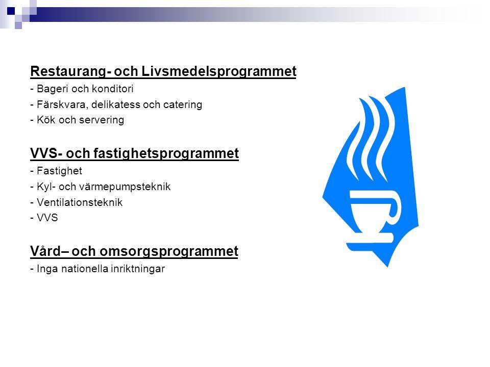 Restaurang- och Livsmedelsprogrammet - Bageri och konditori - Färskvara, delikatess och catering - Kök och servering VVS- och fastighetsprogrammet - F