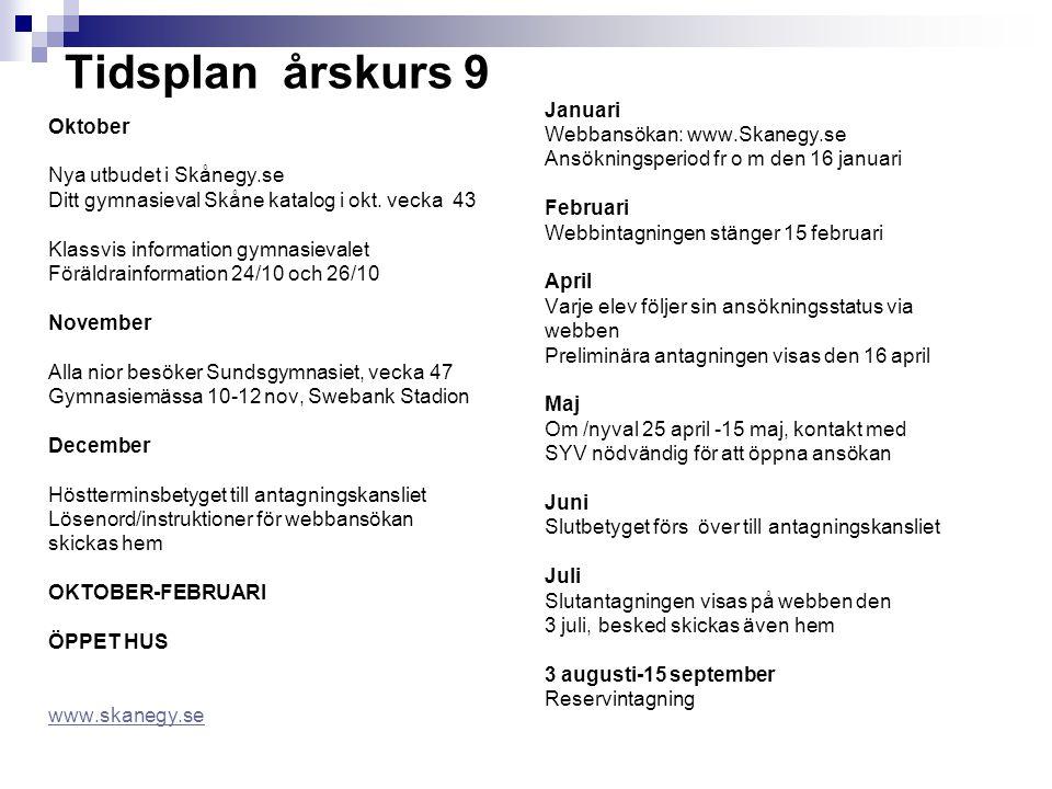 Tidsplan årskurs 9 Oktober Nya utbudet i Skånegy.se Ditt gymnasieval Skåne katalog i okt. vecka 43 Klassvis information gymnasievalet Föräldrainformat