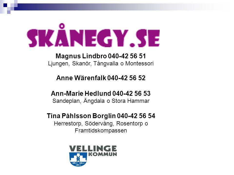 Magnus Lindbro 040-42 56 51 Ljungen, Skanör, Tångvalla o Montessori Anne Wärenfalk 040-42 56 52 Ann-Marie Hedlund 040-42 56 53 Sandeplan, Ängdala o St