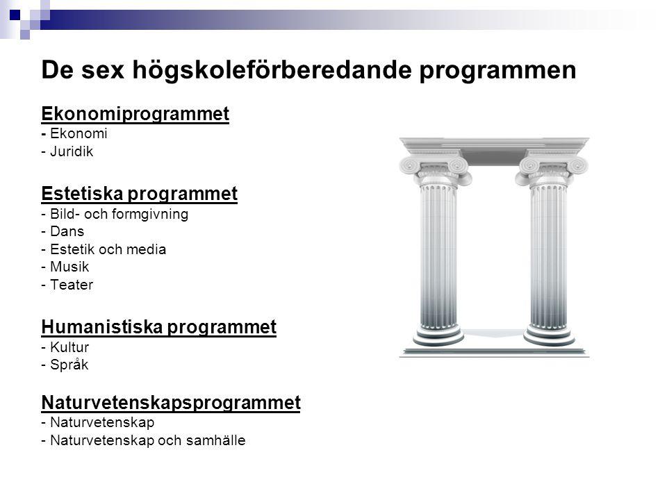 De sex högskoleförberedande programmen Ekonomiprogrammet - Ekonomi - Juridik Estetiska programmet - Bild- och formgivning - Dans - Estetik och media -