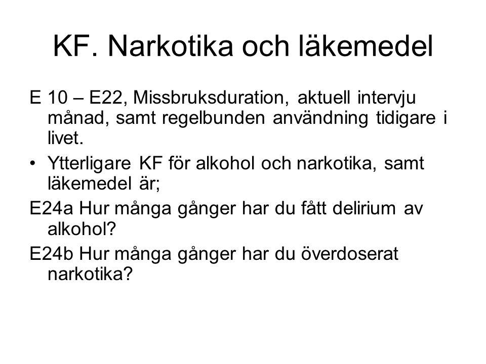KF. Narkotika och läkemedel E 10 – E22, Missbruksduration, aktuell intervju månad, samt regelbunden användning tidigare i livet. •Ytterligare KF för a