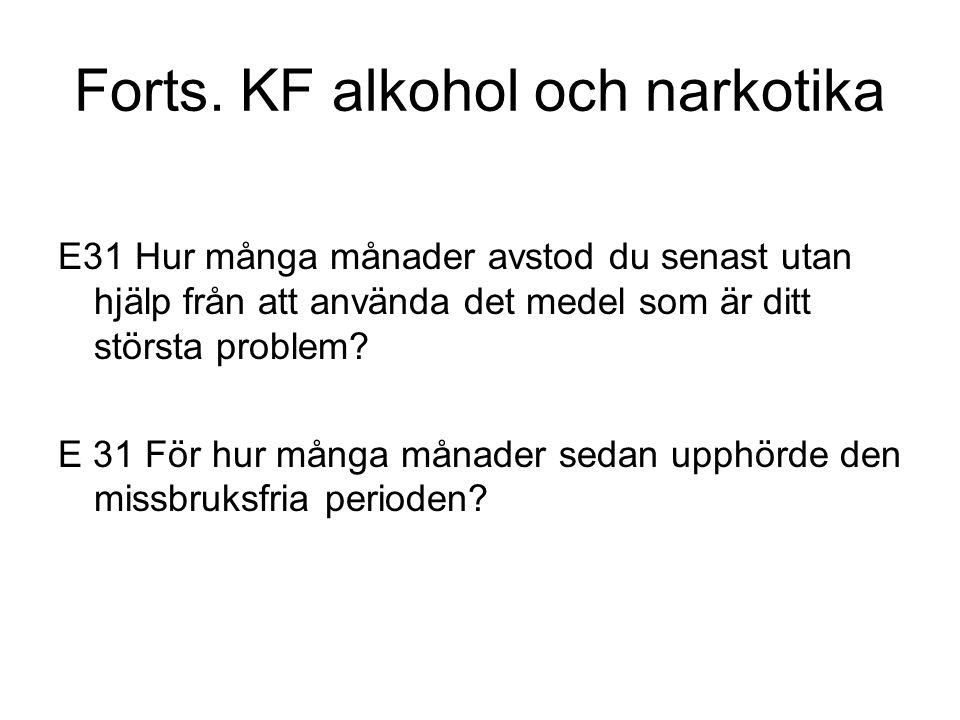 Forts. KF alkohol och narkotika E31 Hur många månader avstod du senast utan hjälp från att använda det medel som är ditt största problem? E 31 För hur