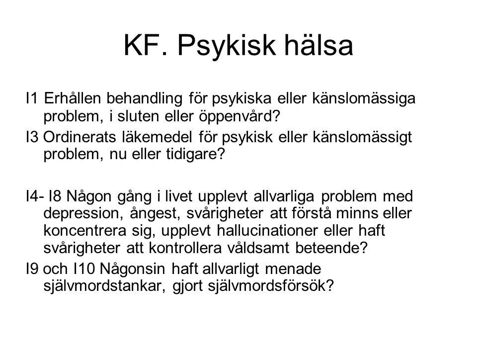 KF. Psykisk hälsa I1 Erhållen behandling för psykiska eller känslomässiga problem, i sluten eller öppenvård? I3 Ordinerats läkemedel för psykisk eller