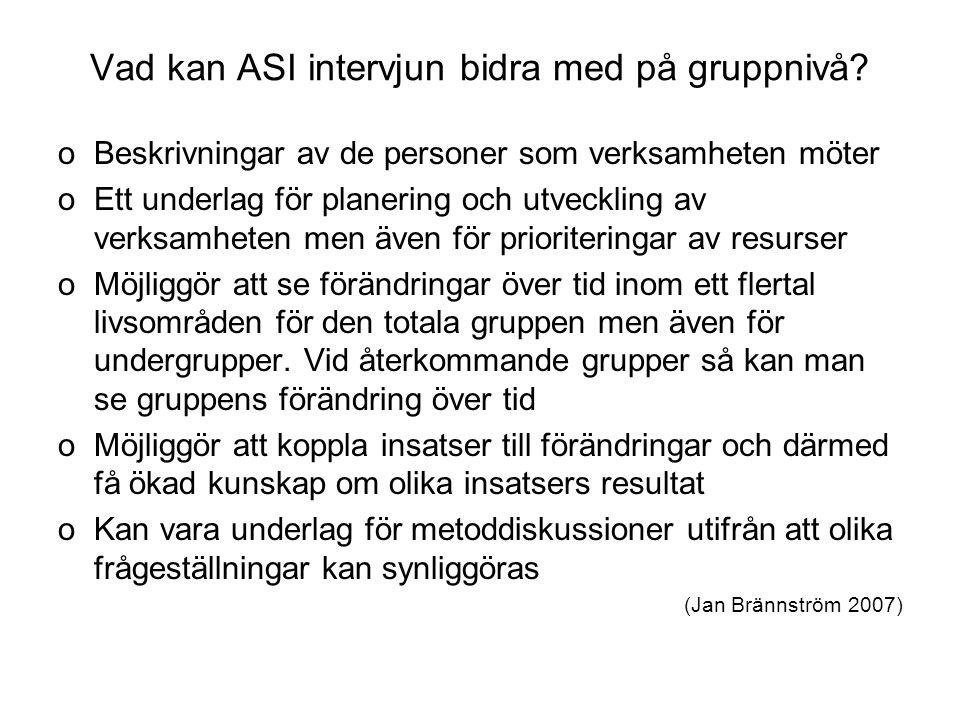 Vad kan ASI intervjun bidra med på gruppnivå? oBeskrivningar av de personer som verksamheten möter oEtt underlag för planering och utveckling av verks