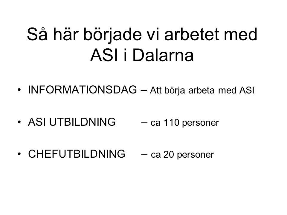 Så här började vi arbetet med ASI i Dalarna •INFORMATIONSDAG – Att börja arbeta med ASI •ASI UTBILDNING – ca 110 personer •CHEFUTBILDNING – ca 20 pers