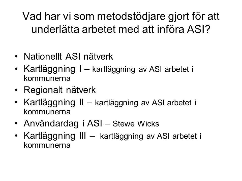Vad har vi som metodstödjare gjort för att underlätta arbetet med att införa ASI? •Nationellt ASI nätverk •Kartläggning I – kartläggning av ASI arbete