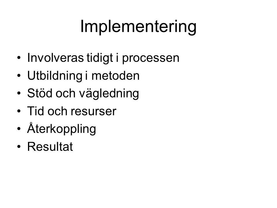 Implementering •Involveras tidigt i processen •Utbildning i metoden •Stöd och vägledning •Tid och resurser •Återkoppling •Resultat