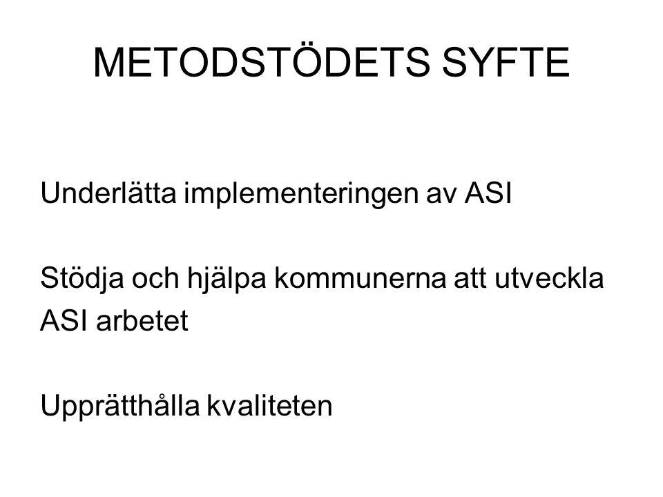 METODSTÖDETS SYFTE Underlätta implementeringen av ASI Stödja och hjälpa kommunerna att utveckla ASI arbetet Upprätthålla kvaliteten