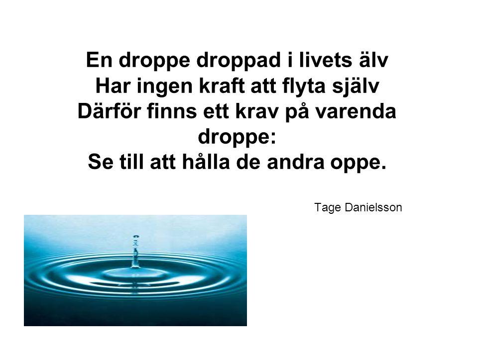 En droppe droppad i livets älv Har ingen kraft att flyta själv Därför finns ett krav på varenda droppe: Se till att hålla de andra oppe. Tage Danielss