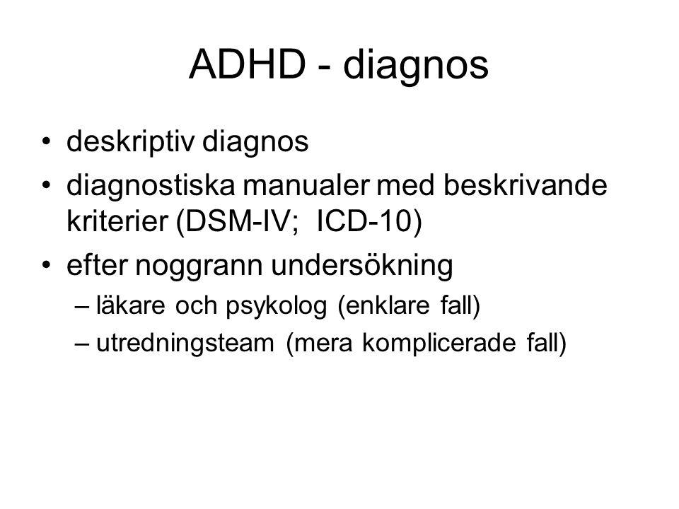 ADHD - diagnos •deskriptiv diagnos •diagnostiska manualer med beskrivande kriterier (DSM-IV; ICD-10) •efter noggrann undersökning –läkare och psykolog