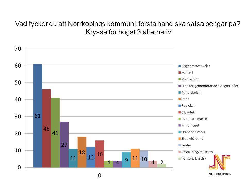 Vad tycker du att Norrköpings kommun i första hand ska satsa pengar på.