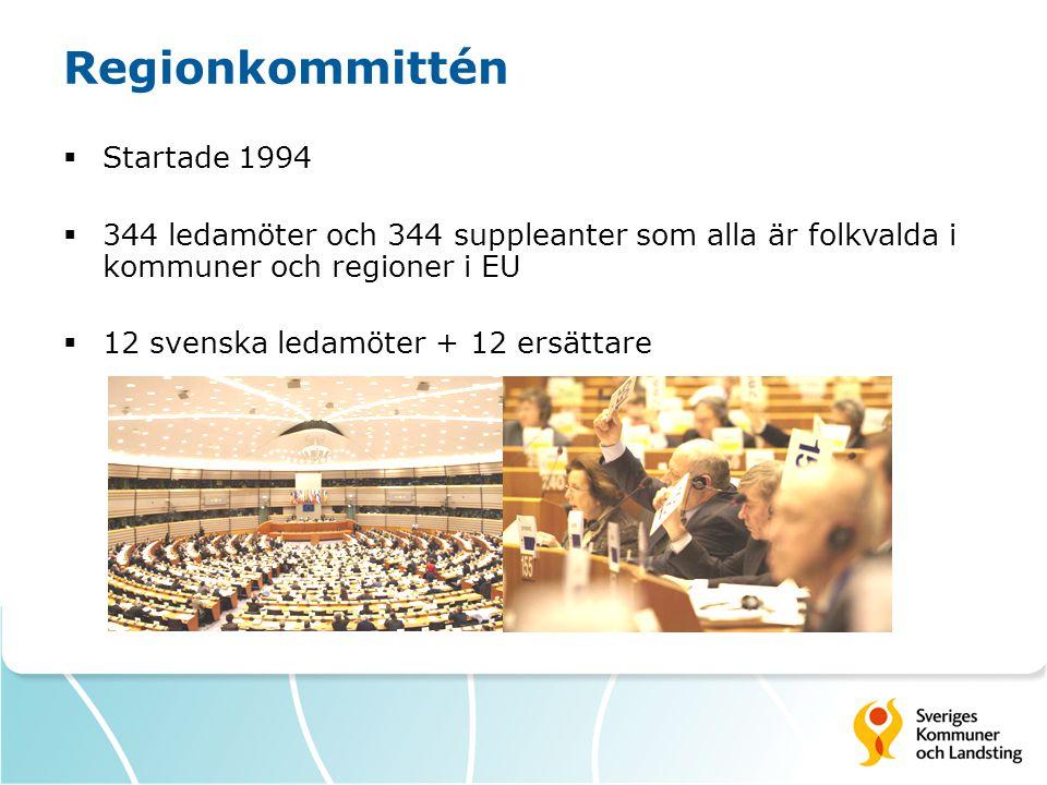Regionkommittén  Startade 1994  344 ledamöter och 344 suppleanter som alla är folkvalda i kommuner och regioner i EU  12 svenska ledamöter + 12 ers